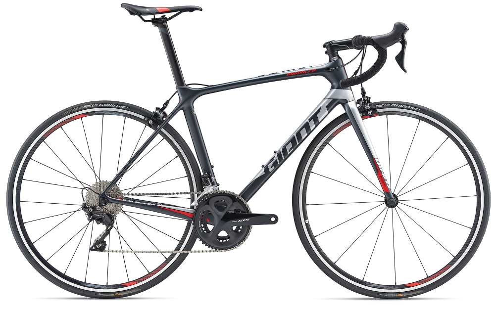 GIANT TCR Advanced 2 L Metallicblack-Silver Matt - GIANT TCR Advanced 2 L Metallicblack-Silver Matt